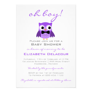 Purple Owl with Bow Tie Baby Shower Invitation