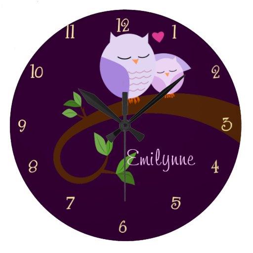 Purple Owls Personalized Wall Clock