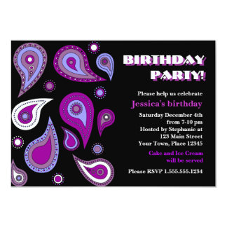 Purple Paisley Birthday Party Card
