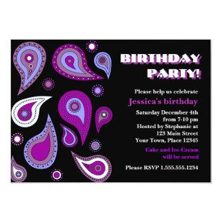 Purple Paisley Birthday Party Invites