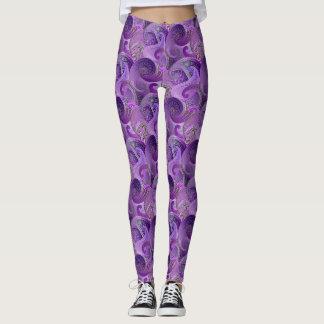 Purple Paisley Damask Pattern Leggings