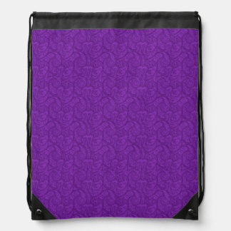 Purple Paisley Drawstring Bag