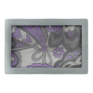 Purple Paisley Gear Rectangular Belt Buckle