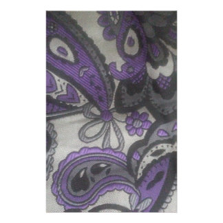 Purple Paisley Gear Stationery Paper