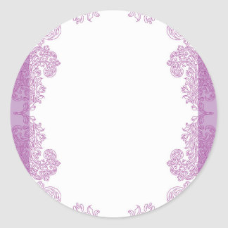 Purple Paisley middle eastern invitation Template Classic Round Sticker