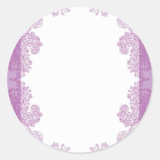 Purple Paisley middle eastern invitation Template Round Sticker