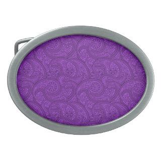 Purple Paisley Oval Belt Buckle