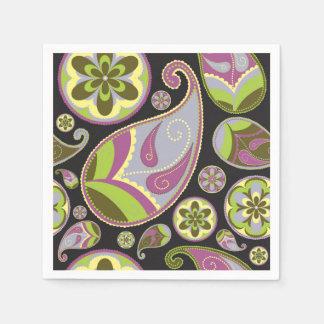 Purple Paisley Pattern Disposable Napkins