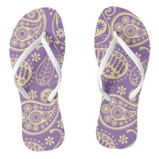Purple Paisley Pattern Flip Flops