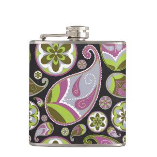 Purple Paisley Pattern Hip Flask
