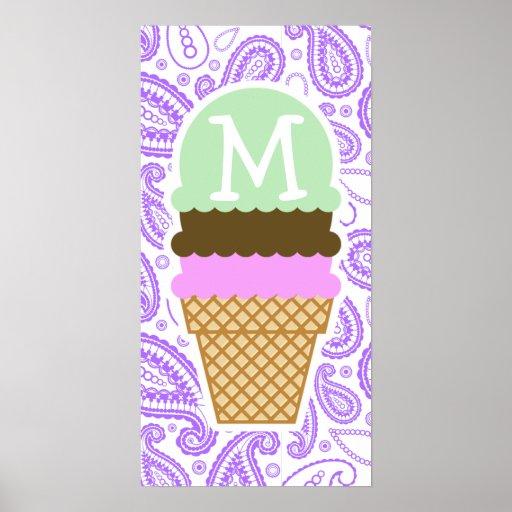 Purple Paisley Pattern; Ice Cream Cone Print