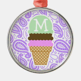 Purple Paisley Pattern; Ice Cream Cone Silver-Colored Round Ornament