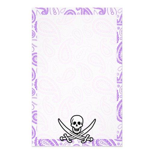 Purple Paisley Pattern Jolly Roger; Pirate Custom Stationery