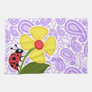 Purple Paisley Pattern; Ladybug Kitchen Towel