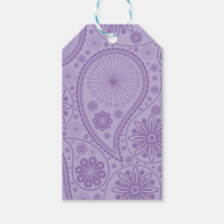 Purple paisley pattern pack of gift tags