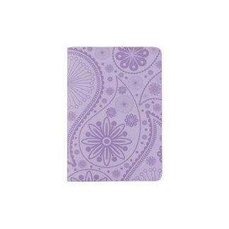 Purple paisley pattern passport holder