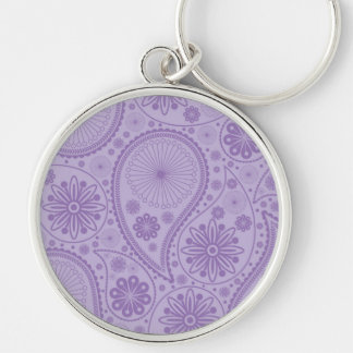 Purple paisley pattern Silver-Colored round keychain