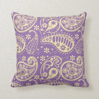 Purple Paisley Pattern Throw Pillow