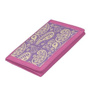 Purple Paisley Pattern Tri-fold Wallet
