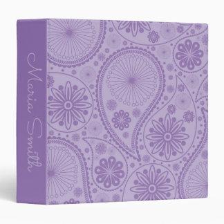 Purple paisley pattern vinyl binders