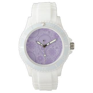 Purple paisley pattern wrist watches