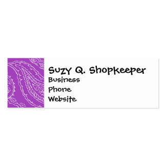 Purple Paisley Print Summer Fun Girly Pattern Double-Sided Mini Business Cards (Pack Of 20)