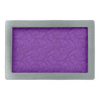 Purple Paisley Rectangular Belt Buckle
