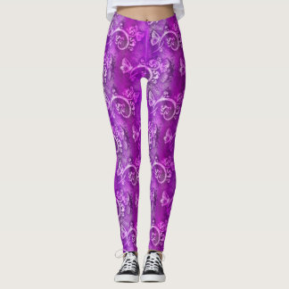 Purple Paisley Tie Dye Leggings