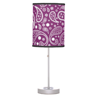 Purple Paisley Tribal Vintage Pattern Desk Lamps