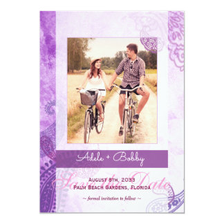 Purple Paisley Wedding Photo Save the Date Card