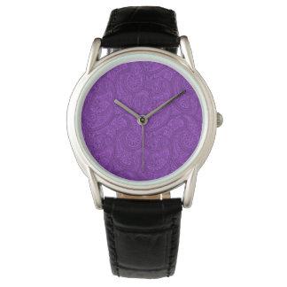 Purple Paisley Wrist Watches