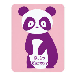 Purple Panda Baby Shower Invitation Card