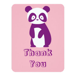 Purple Panda Baby Shower Thank You Card