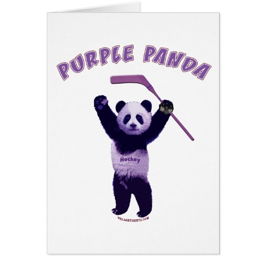 Purple Panda Hockey Bear Card