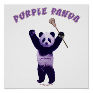 Purple Panda Lacrosse Poster