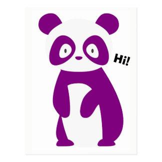 Purple Panda Saying Hi! Postcard