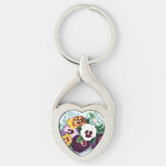 Purple Pansies and Delicate Ferns Silver-Colored Twisted Heart Keychain