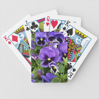purple pansies bicycle playing cards