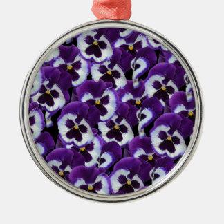 Purple_Pansies_Bouquet,_. Metal Ornament