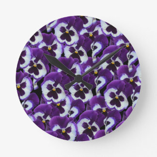 Purple_Pansies_Bouquet,_ Round Clock