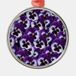 Purple_Pansies_Bouquet,_. Silver-Colored Round Ornament