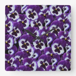 Purple_Pansies_Bouquet,_Square Wall Clock. Square Wall Clock