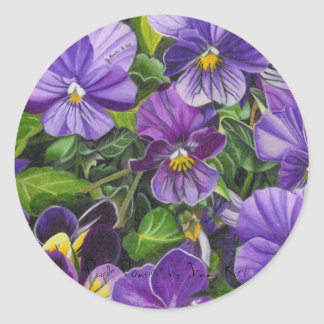"""Purple Pansies"" by Jenny Koch Classic Round Sticker"