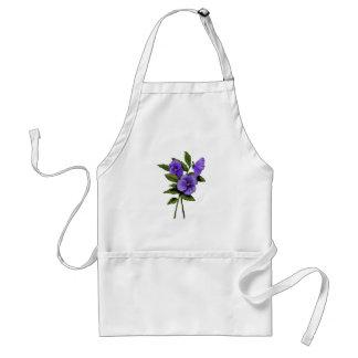 Purple Pansies: Color Pencil Floral Art: Gardener Standard Apron