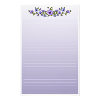 Purple Pansies Floral Bouquet Stationery