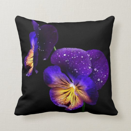 Purple Pansies Flowers Black Modern Pillow
