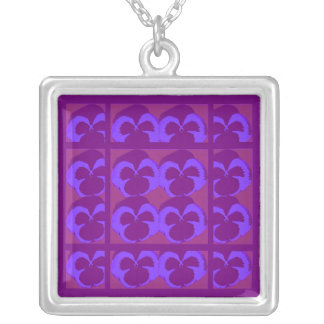 Purple Pansies in Rows and Columns Square Pendant Necklace