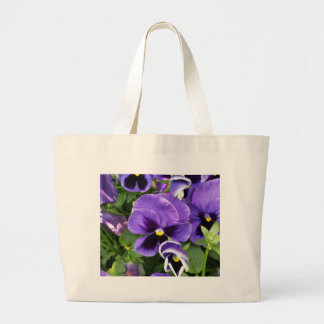 purple pansies large tote bag