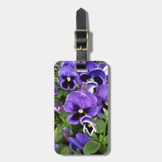 purple pansies luggage tag