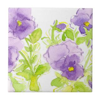 Purple Pansies Pastel Watercolor Flowers Tile